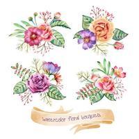 collezione di mazzi di fiori ad acquerello