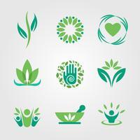 vettore logo verde e curativo