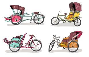 Illustrazione disegnata a mano tradizionale di vettore di Trishaw