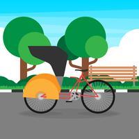 Illustrazione tradizionale del trasporto dell'Asia di Trishaw