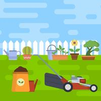 Illustrazione piana di vettore della falciatrice da giardino e del giardino