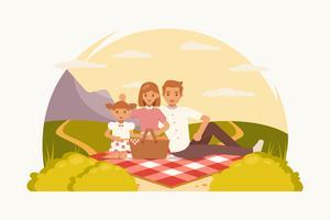 Vettori di pic-nic in famiglia degli anni '50