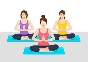 Illustrazione di classe di yoga vettore