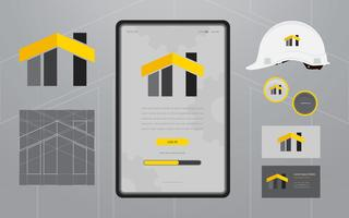Loghi di costruzione nel set di elementi decorativi. Modello di profilo della società di costruzioni.