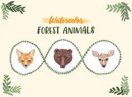 Acquerello animali della foresta