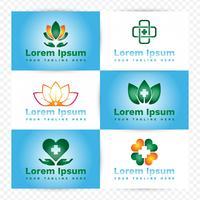 Elementi di design del logo medico e sanitario vettore