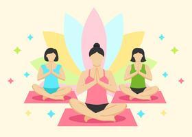 Vettore di classe di yoga delle donne
