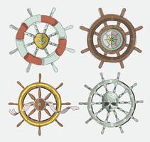 Illustrazione disegnata a mano di vettore della raccolta della ruota delle navi