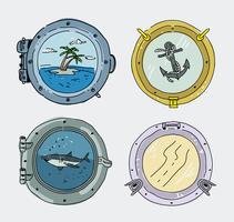 Illustrazione disegnata a mano di vettore della raccolta della finestra della nave