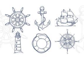 Illustrazione disegnata a mano nautica vettore