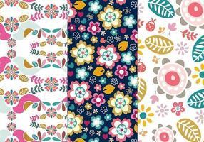 Confezione di pattern illustratore di fiori e uccelli vettore