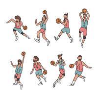 Set di giocatori di basket colorati vettore