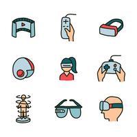 Set di icone scarabocchiate di esperienza di realtà virtuale vettore
