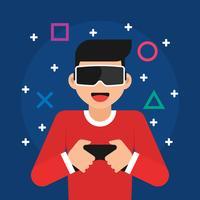 Illustrazione di concetto di realtà virtuale occhiali vettore