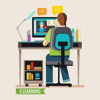 Formazione online, apprendimento online a distanza vettore