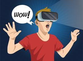 Illustrazione vettoriale di realtà virtuale esperienza uomo