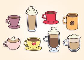 Vettore disegnato a mano delle tazze di caffè
