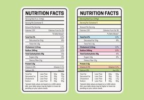 Tabella dei valori nutrizionali vettore