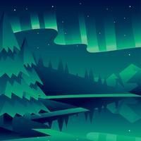 Aurora boreale paesaggio verde vettoriale