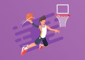 Giocatore di basket in azione vettore
