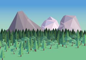 Foresta bassa poli con l'illustrazione di vettore del fondo della montagna