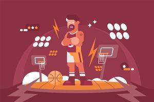 Illustrazione esagerata del giocatore di pallacanestro vettore
