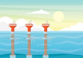 Concetto di illustrazione di energia mareomotrice vettore
