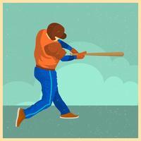 Illustrazione d'annata piana di vettore del giocatore di baseball