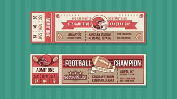 Vettore gratuito del biglietto di evento del campione di calcio