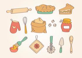 Vettore degli ingredienti della torta