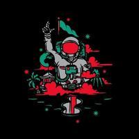 astronauta con design t-shirt bandiera vettore
