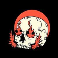 teschio con design t-shirt di fuoco vettore