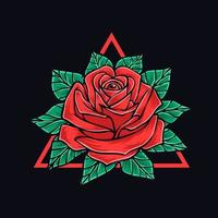 rosa con foglie t shirt design vettore