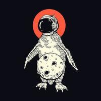 pinguino con la maglietta della luna vettore