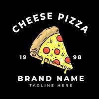design della maglietta della pizza al formaggio vettore