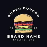design della maglietta super burger vettore