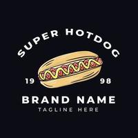 design della maglietta super hot dog vettore