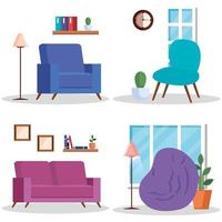 scene di luoghi di casa del soggiorno impostati