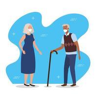 coppia di anziani con maschere facciali vettore