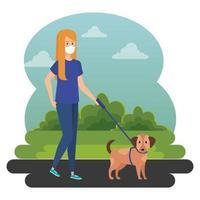giovane donna che cammina con il cane all'aperto vettore