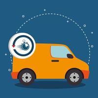 furgone di trasporto di consegna con cronometro