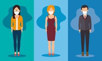 uomini d'affari con maschere per il viso personaggi avatar vettore