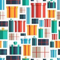 Modello senza cuciture di scatole regalo di Natale. modello vettoriale di confezioni regalo multicolori per temi di Natale, Capodanno o vacanze.