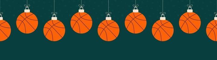 modello orizzontale senza cuciture di pallacanestro di buon natale. appendere a un filo palla da basket cartone animato piatto come una palla di Natale su sfondo verde orizzontale. illustrazione vettoriale di sport.