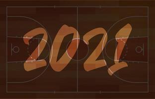 Cartolina d'auguri del campo di pallacanestro di felice anno nuovo 2021 con scritte. sfondo del campo di basket creativo per la celebrazione di natale e capodanno. biglietto di auguri di sport