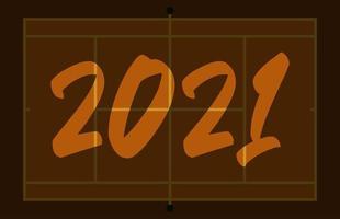 Cartolina d'auguri del campo da tennis di felice anno nuovo 2021 con scritte. sfondo di campo da tennis creativo per la celebrazione di natale e capodanno. biglietto di auguri di sport