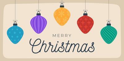 cartolina di Natale in stile retrò. illustrazione vettoriale anno nuovo banner con palle di Natale. pallina decorativa in stile cartone animato piatto con scritte di saluto