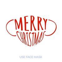 maschera facciale medica con testo buon natale. tendenza degli auguri di Natale. focolaio di coronavirus. concetto di assistenza sanitaria. vettore