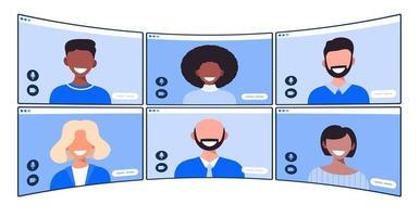gruppo di persone che parlano in videoconferenza, allontanamento sociale. illustrazione vettoriale di persone che hanno comunicazione tramite sistema di telelavoro.