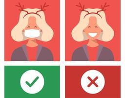 nessuna maschera nessuna voce. proteggere e prevenire dal coronavirus o dal vettore di avvertimento piatto covid-19
